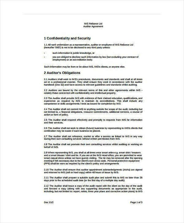 Organization Audit Confidentiality Agreement