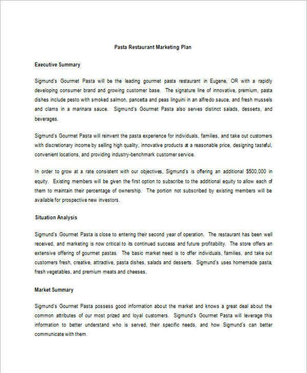 pasta-restaurant-marketing-and-sales-plan-template