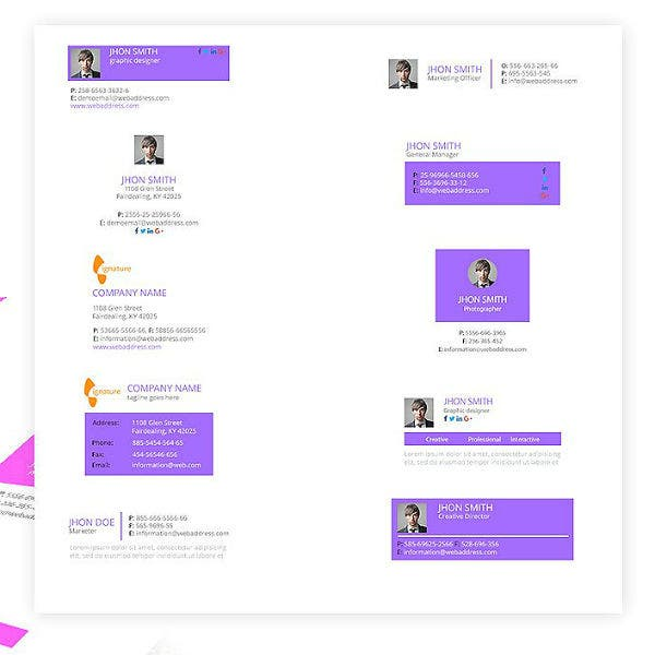 pastel gmail email signature template