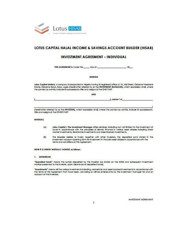 6 Personal Investment Agreement Templates Pdf Doc Free