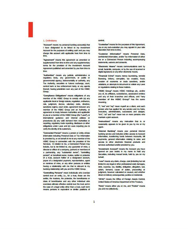 personal investment account agreement template
