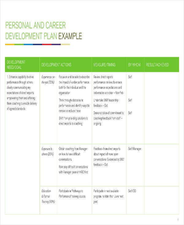 personal and career development plan example