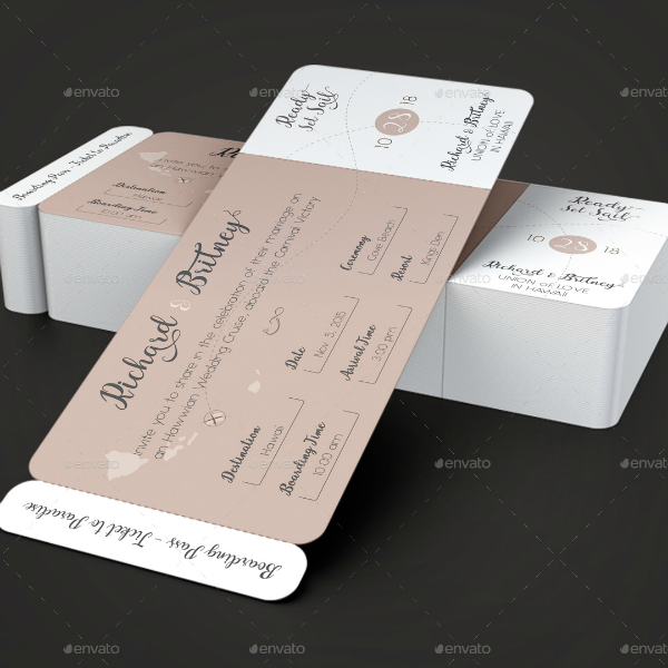 Pinky Wedding Boarding Pass Invitation