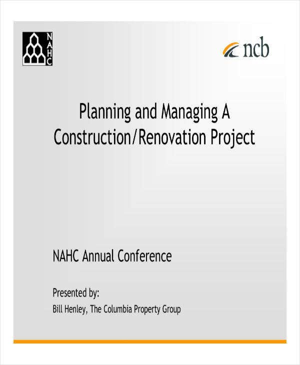 Planning for Construction Renovation Project