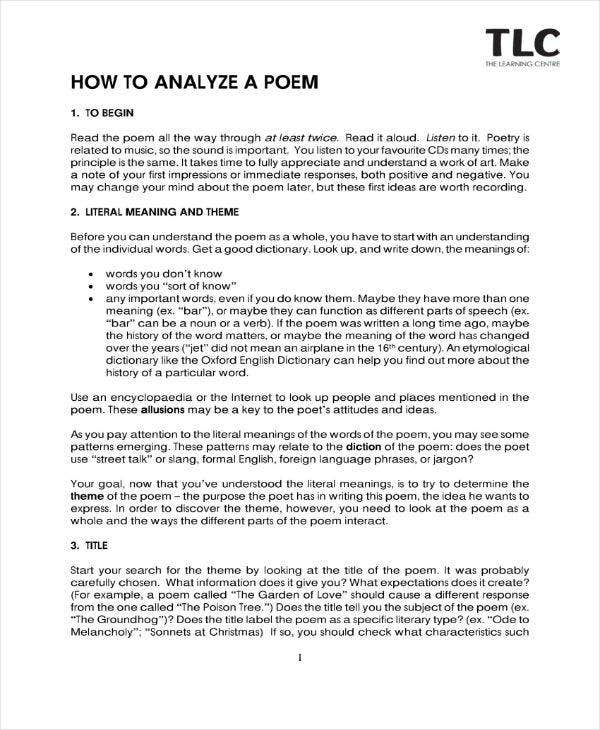 Poetry Analysis Sample