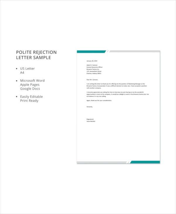 polite rejection letter sample