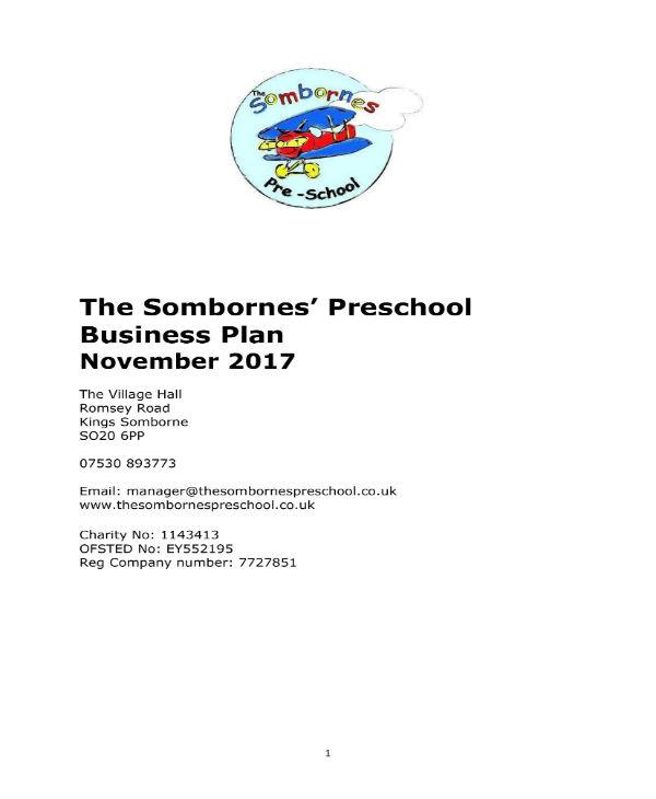 preschool business plan sample