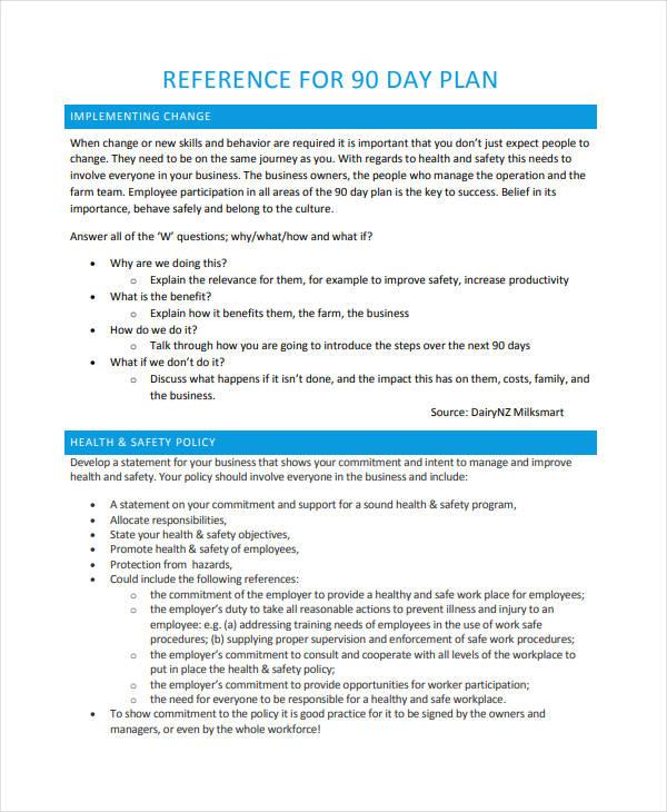 printable 90 day plan