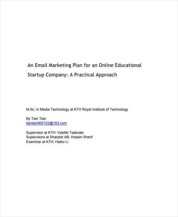 printable email marketing plan