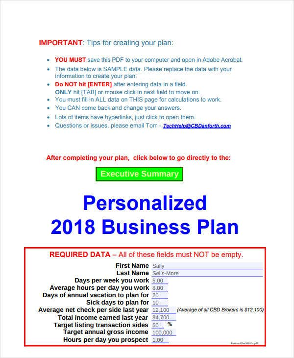 printable real estate sales plan1