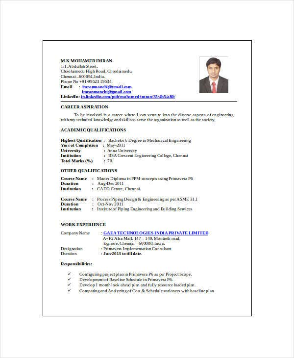 resume for mechanical engineer in india