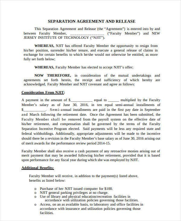 10 Separation And Release Agreement Templates Pdf Free