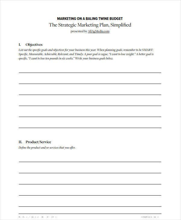 printable strategic marketing and sales plan