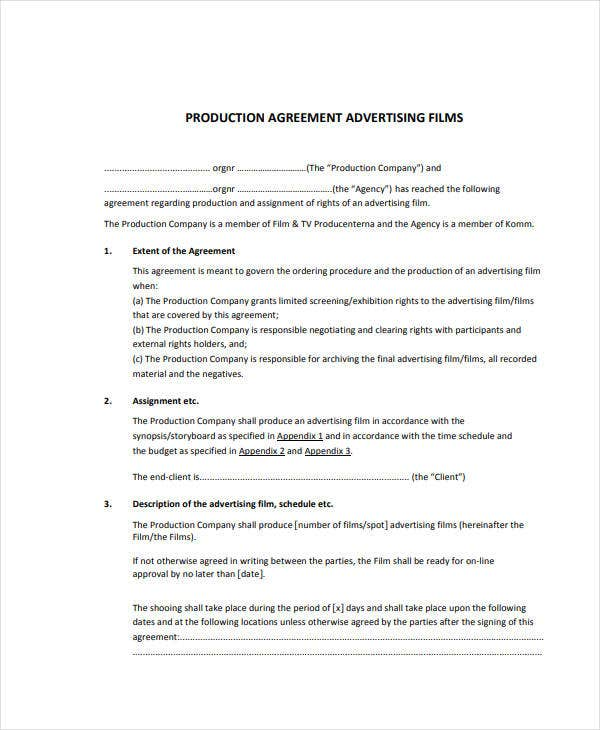 production agreement advertising films