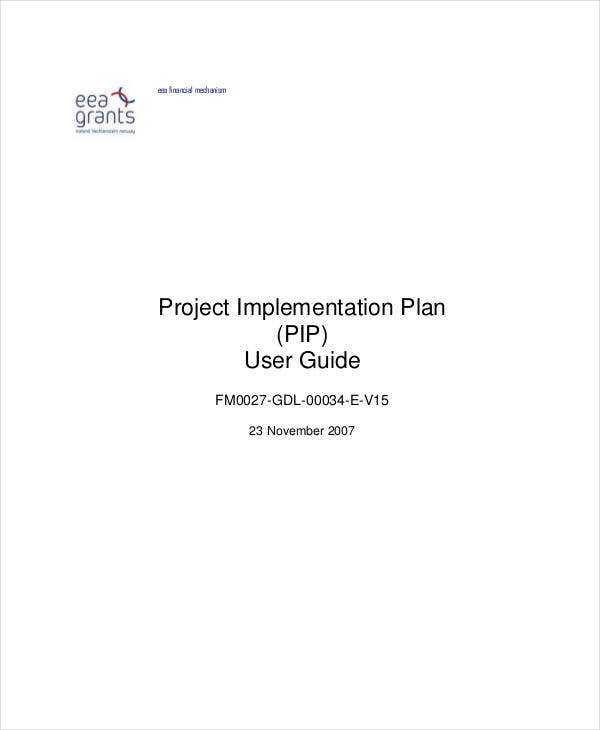 project training implementation plan