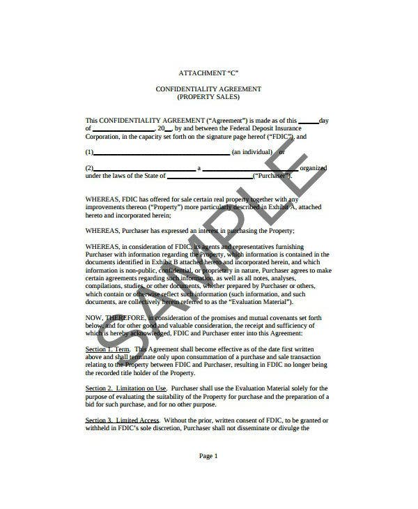 property sales confidentiality agreement template
