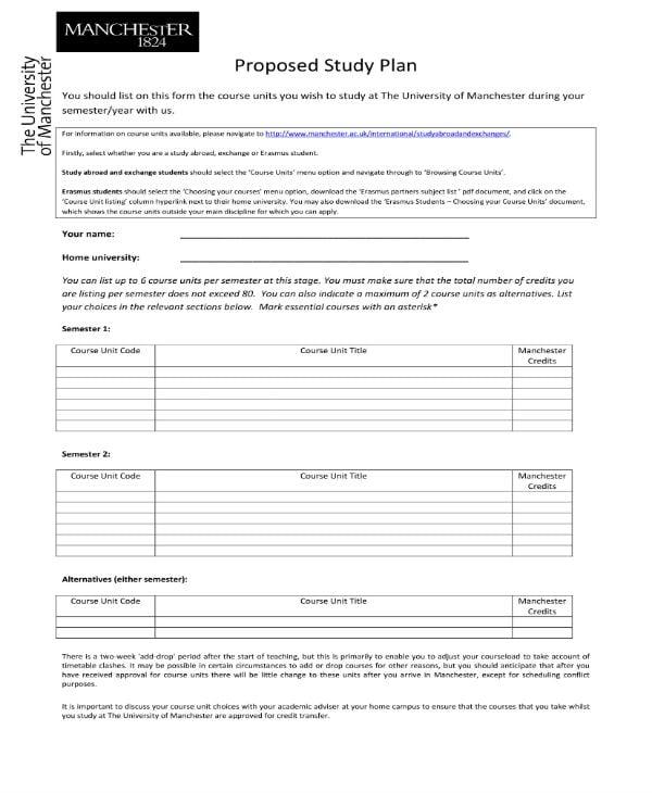 proposed study plan sample 1