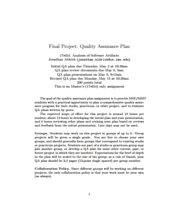 quality assurance plan final project