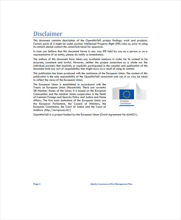 quality assurance risk management plan