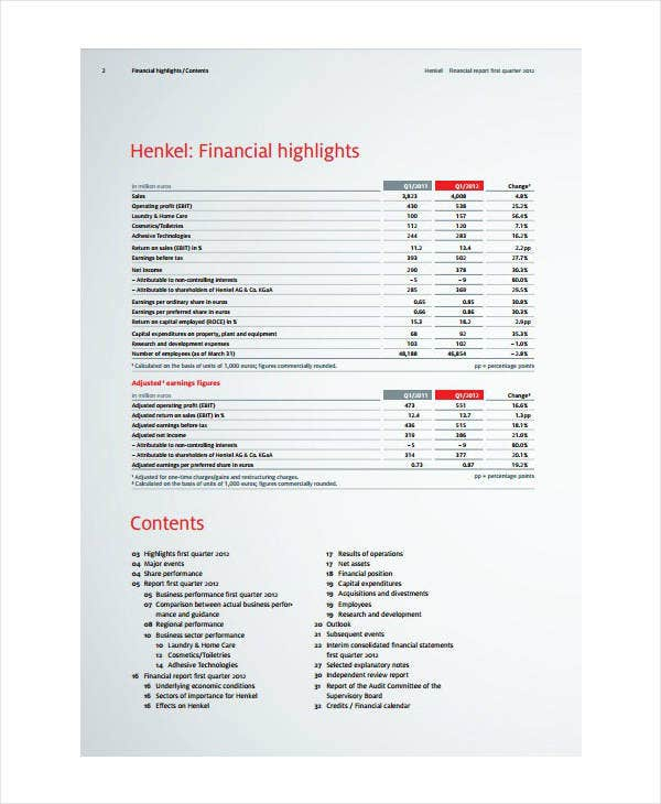 quarterly financial report template