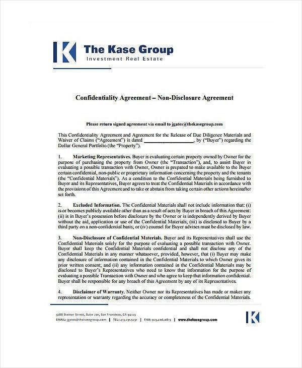 Real Estate Audit Confidentiality Agreement Template