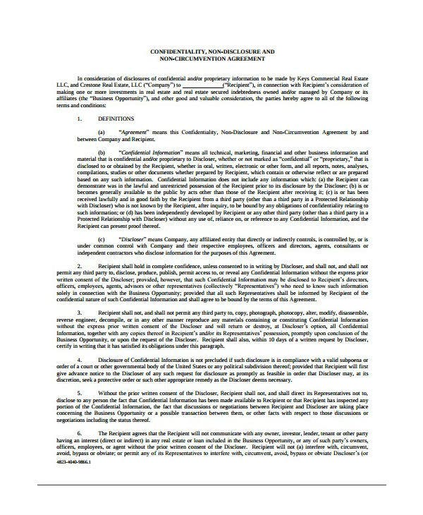 real estate confidentiality non disclosure agreement template