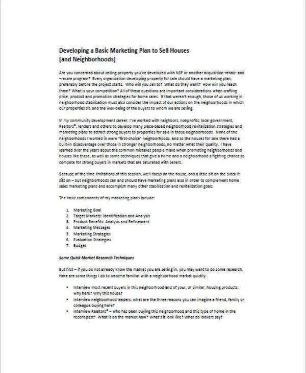 real estate marketing and sales plan