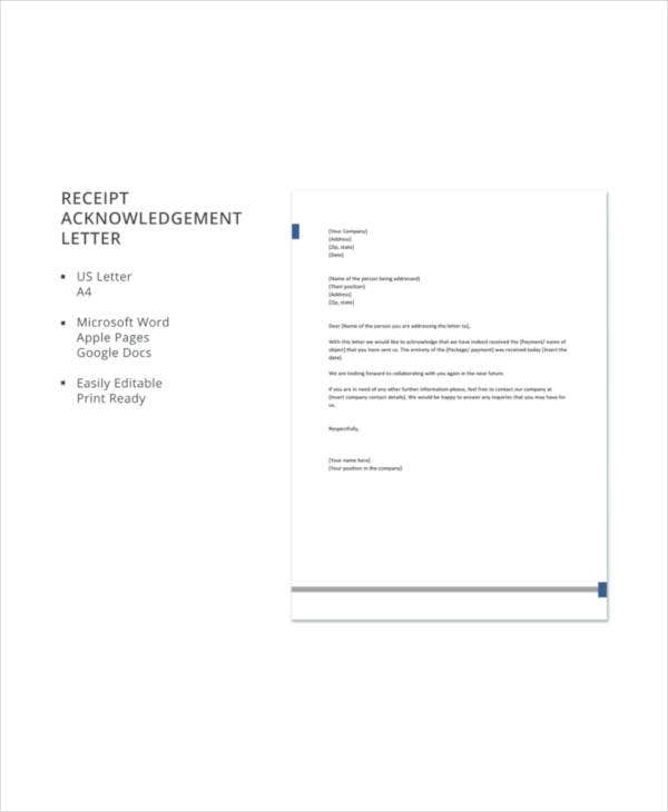 Receipt Acknowledgement Letter Templates - 10+ Free Word, PDF Format ...