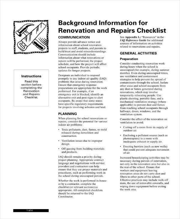 renovation and repairs project plan checklist