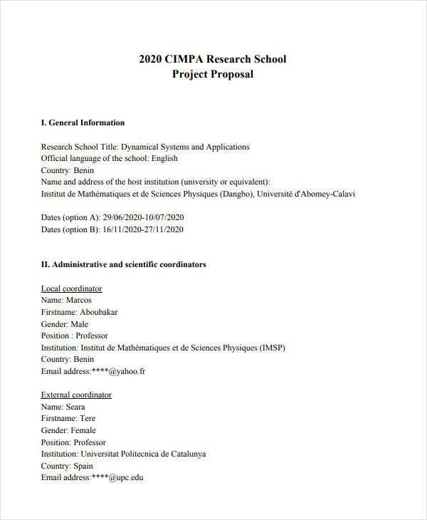 research school project proposal