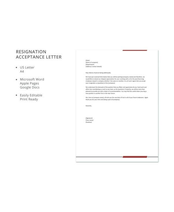 resignation acceptance letter template