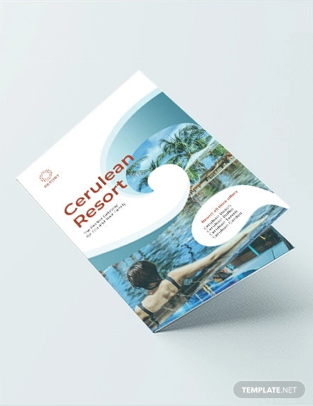 resort bi fold brochure template