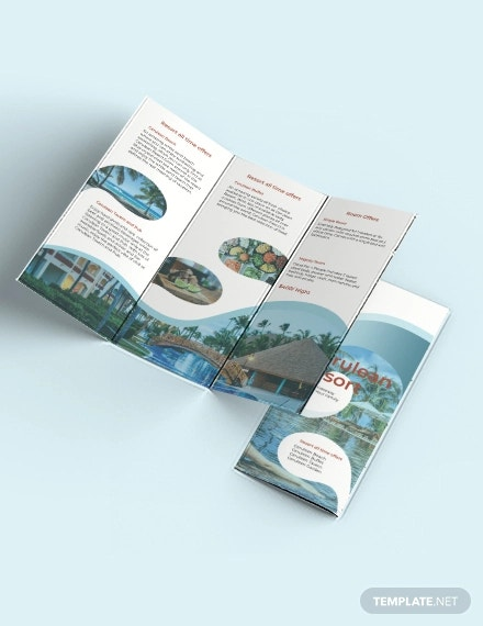 resort tri fold brochure template