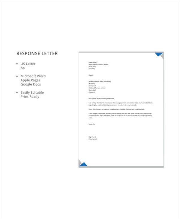 response letter template