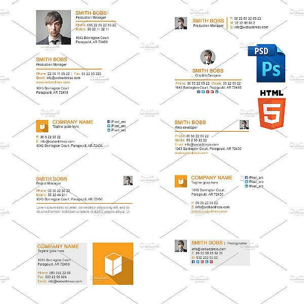 responsive gmail email signature html template