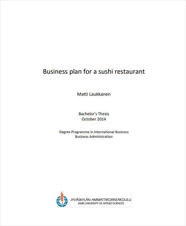 restaurant business project plan