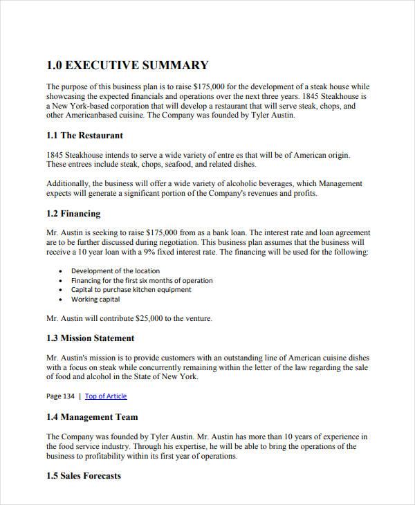 restaurant business sales plan example