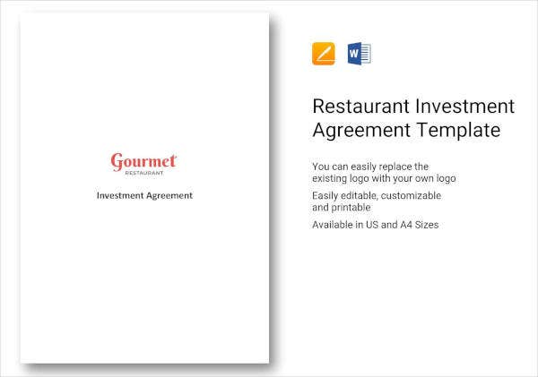 restaurant investment agreement template