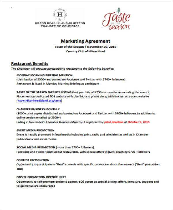 Restaurant Marketing Agreement Format