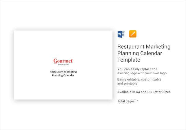 Restaurant Marketing Planning Calendar Template