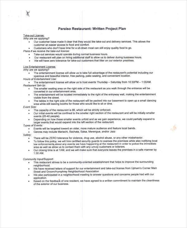 restaurant project plan example