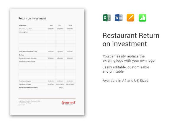 Restaurant Return on Investment Template