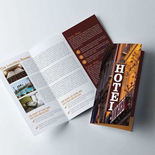 rustic hotel trifold brochure template