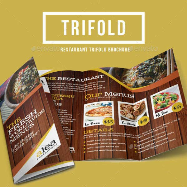 rustic trifold restaurant brochure template