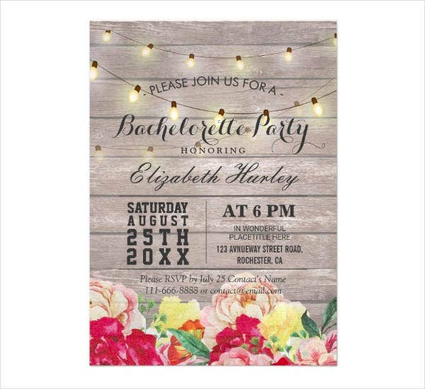 Rustic Wood Floral Bachelorette Party Invitation