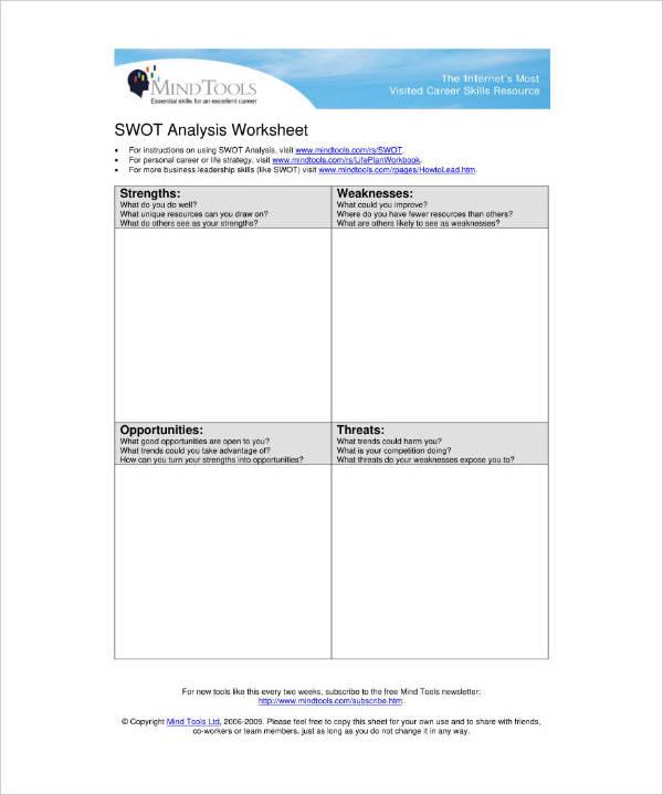 SWOT Analysis Business Worksheet