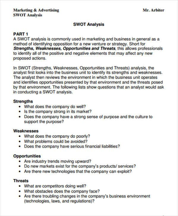 swot analysis sample for advertising