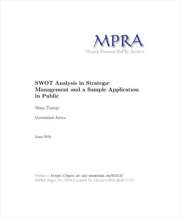 SWOT Analysis in Strategic Management