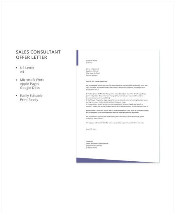 sales consultant offer letter