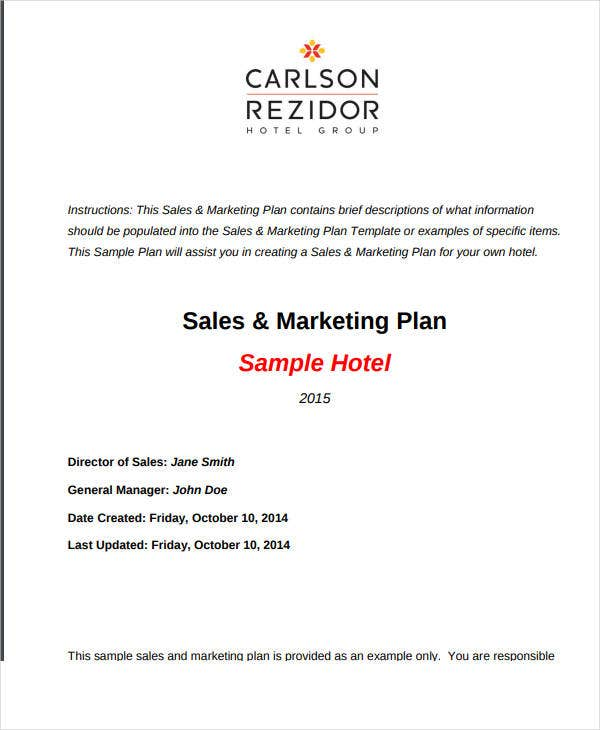 sales marketing plan sample hotel